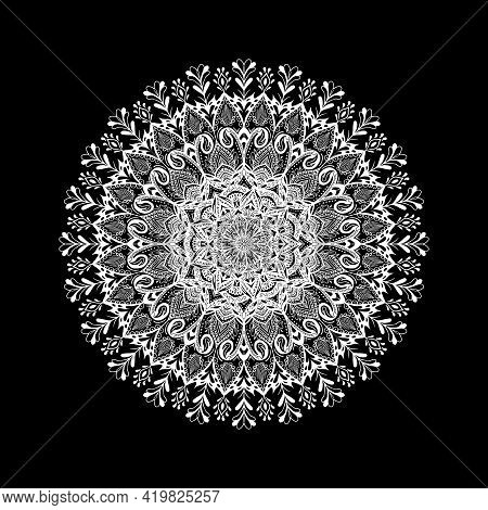 Indian Traditional And Cultural Mandala Design Concept Of Rangoli, Alpona, Kolam Or Paisley Line Art