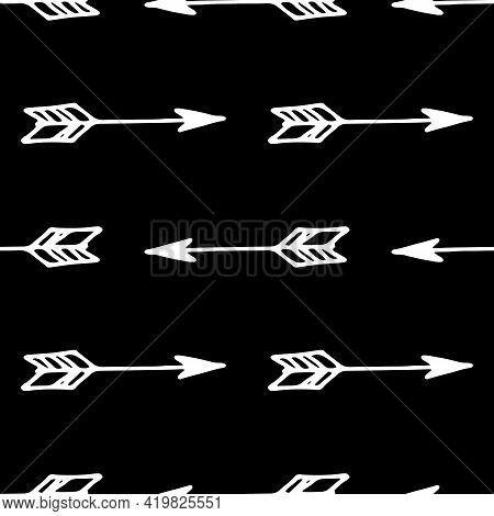 Modern Doodle Arrow Pattern, Great Design For Any Purposes. Seamless Pattern Abstract Design. Art In