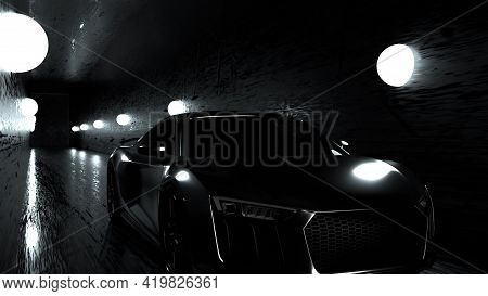 Futuristic 3d Render Highspeed Vehicle With Cybepank Silhouette Driving Along Asphalt Highway With G