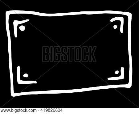 Vintage Line Art Black On White Backdrop. Card Background. Poster Design. Simple Banner. Art Element