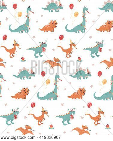 Festive Seamless Background With Dinosaurs. Stegosaurus, Triceraptor And Brontosaurus, Tyrannosaurus