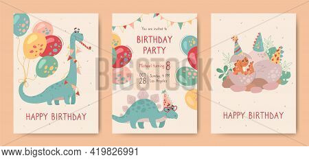 Happy Birthday, Postcards With Dinosaurs And Invitation To Holiday. Stegosaurus, Brontosaurus, And A