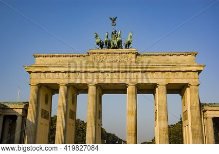 The Silouhette Branderburg Gate In Berlin, Germany