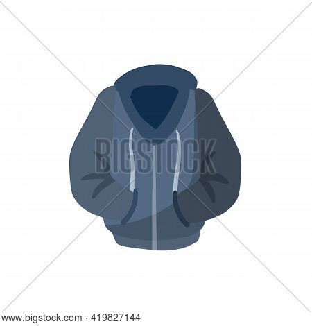 Hoodie With Hood. Red Warm Clothing. Sweatshirt With Handles. Cartoon Flat Illustration Isolated On