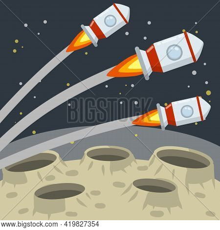 Landing And Launching A Rocket On The Asteroid Landscape. Stars And Space Flight. Moon. Space Planet