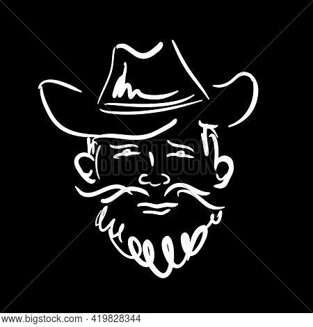 A Man With A Beard And Mustache Wearing A Cowboy Hat. Simple Linear Sketch Of A Farmer, Hipster, Cow