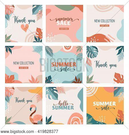 Bohemian Summer, Set Of Modern Summer Sale Post Design With Rainbow, Flamingo, Pineapple, Ice Cream