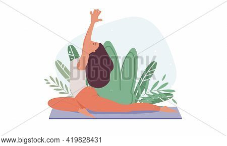 Set Of Tranquil Women With Closed Eyes Meditating In Yoga Postures