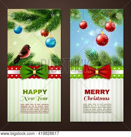 Christmas And New Year Season Classic Greetings Cards Samples 2 Vertical Banners Set Abstract Isolat