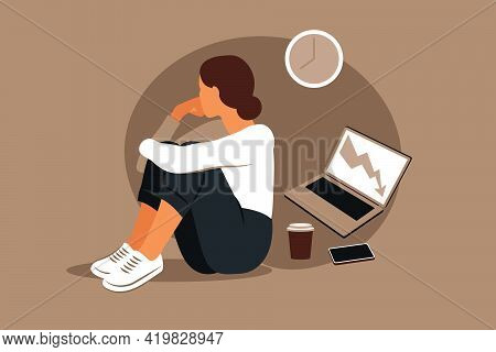 Professional Burnout Syndrome. Illustration Tired Female Office Worker Sitting At The Table. Frustra