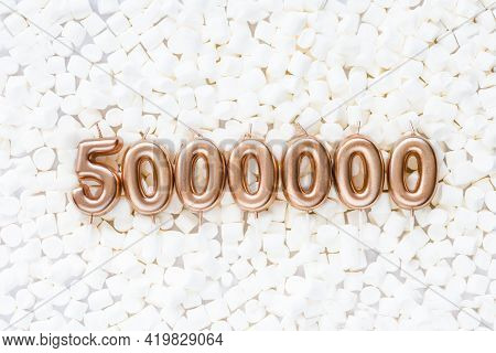 5000000 Followers Card. Template For Social Networks, Blogs. Background With White Marshmallows. Soc