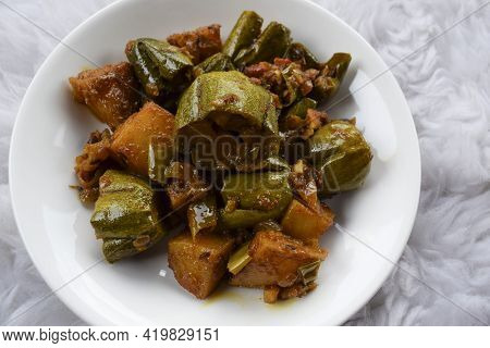 Parwal Aloo Ki Sabji Also Known As Pointed Gourd And Potato Fry Curry. Tasty Home Made Side Dish Mad