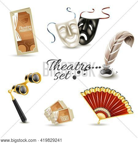 Theater Production Program With Retro Tickets And Two Face Masks Flat Pictograms Set Abstract Isolat