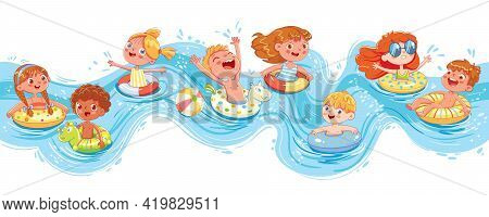 Children Swimming And Jumping On The Waves. Kids Having Fun On Water Slides Tubes At Aquapark. Funny