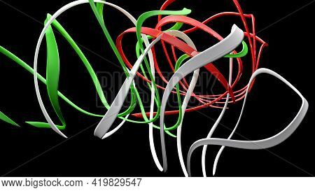 Italian Flag Abstract Ribbons On Black Background - 3d Rendering Illustration