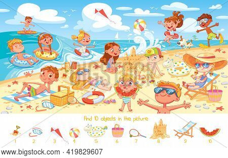 Find 10 Objects In The Picture. Puzzle Hidden Items. Group Of Kids Having Fun On Beach. Child Swimmi
