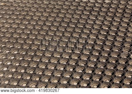 Texture And Background Of Used Dusty Cellular Rubber Floor Mat