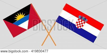 Crossed Flags Of Croatia And Antigua And Barbuda