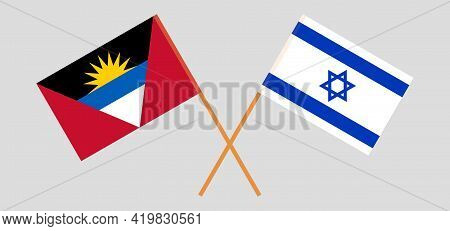 Crossed Flags Of Israel And Antigua And Barbuda