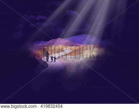 A Widowed Father And His Two Young Children Walk Down A Path As Heavenly Light Shines From The Sky A