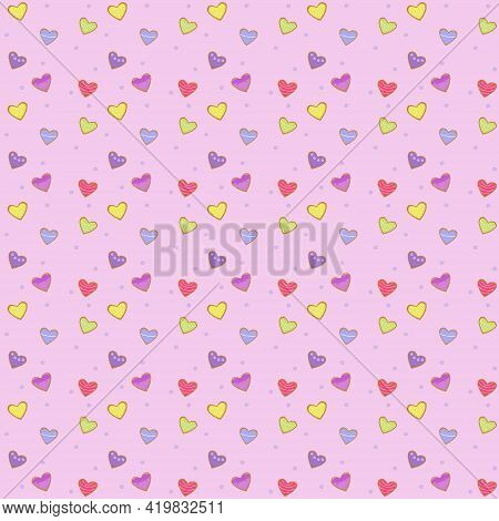 Vector Illustration. Pattern Of Many Beautiful Multi-colored Gingerbread In The Form Of Hearts With