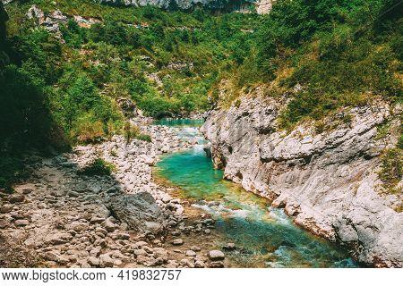 Verdon, France. Mountain River. Scenic View Of Verdon River In France.