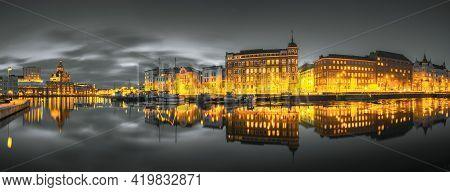Helsinki, Finland. Panoramic View Of Kanavaranta Street With Uspenski Cathedral And Pohjoisranta Str