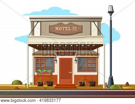 Small Cozy Motel By The Side Of The Road. Motel 24 Open. Vector Illustration Isolated On White