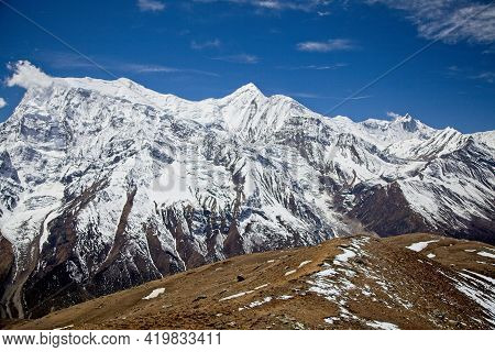 Spectacular Himalayan Mountains Covered In Snow Annapurna Circuit, Nepal.