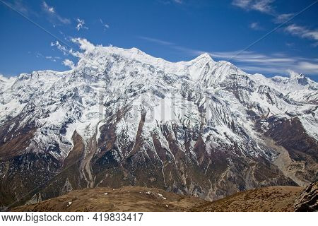 Spectacular Himalayan Mountain Chain Covered In Snow Annapurna Circuit, Nepal.