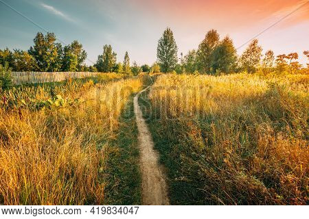 Landscape Of Rural Country Path Through Field With Dry Grass In Early Autumn Season. Pathway, Way, P