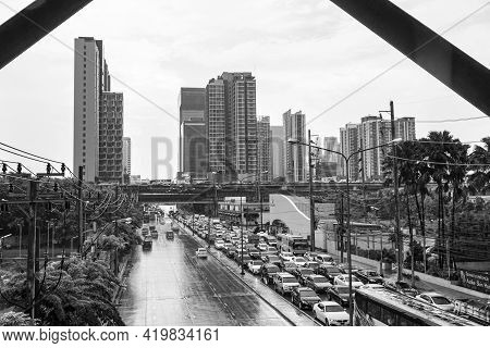 Rush Hour Heavy Traffic Jam Bangkok Thailand Black And White.