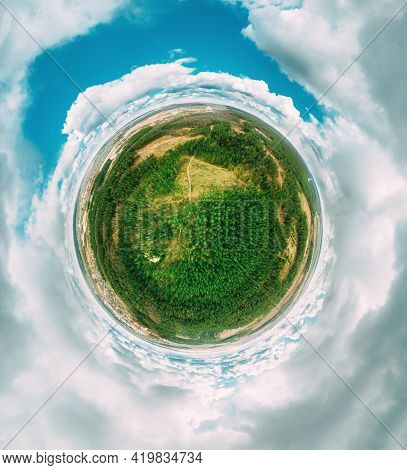 Aerial View Green Coniferous Forest Pines Woods Landscape In Sunny Spring Day. Top View Of Beautiful