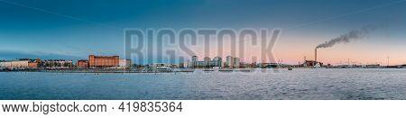 Helsinki, Finland. Multistorey Residential Houses In Merihaka District In Morning Sunrise Time. Pano