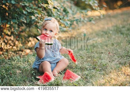 Summer Picnic Food. Cute Caucasian Baby Girl Eating Ripe Red Watermelon In Park. Funny Child Kid Sit