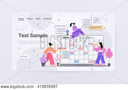 Businesswomen Planning Day Scheduling Appointment In Online Calendar Agenda Meeting Plan Time Manage