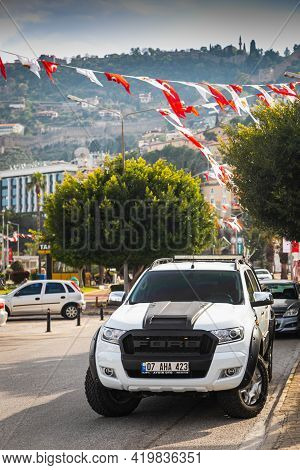 Alanya, Turkey - April 17 2021: White  Ford Ranger Is Parked  On The Street On A Warm Summer Day Aga