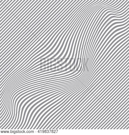 Black And White Halftone Pattern. Abstract Background From Wavy Lines. Twisted Duotone Shapes. Vecto