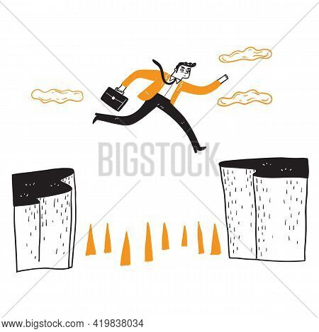 Businessman Jumping Over The Cliff, Creative Business Concept Ideas About Solving Problems, Obstacle