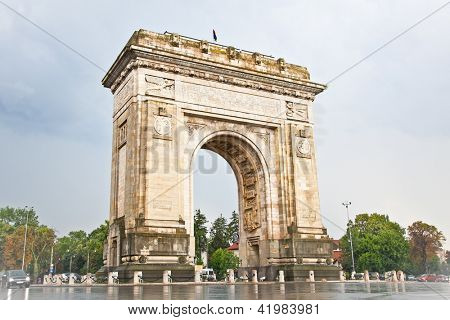Triumph Arch - landmark in Bucharest, Romania. poster