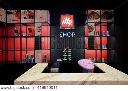 KUALA LUMPUR, MALAYSIA - CIRCA JANUARY, 2020: interior shot of Illy shop at Pavilion Kuala Lumpur shopping centre.
