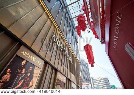 KUALA LUMPUR, MALAYSIA - CIRCA JANUARY, 2020: Armani store at Pavilion Kuala Lumpur shopping centre.
