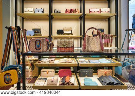 KUALA LUMPUR, MALAYSIA - CIRCA JANUARY, 2020: interior shot of Coach store at Pavilion Kuala Lumpur shopping centre.