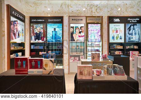 KUALA LUMPUR, MALAYSIA - CIRCA JANUARY, 2020: fragrances on display at Pavilion Kuala Lumpur shopping centre.