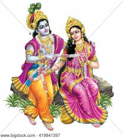 Indian God Radhakrishna, Indian Lord Krishna,  Indian Mythological Image Of Radhakrishna.