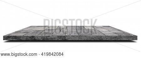 Empty Space Of Side View Concrete Walkway Or Footpath On White Background. (clipping Path)