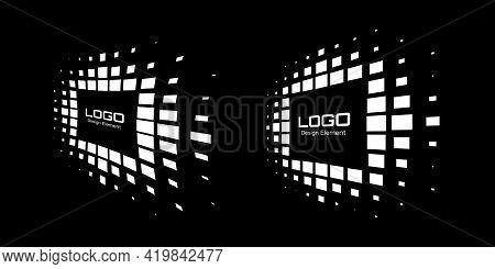 Logo Perspective Frame Set. Abstract Rectangle Dots Emblem Design Element For Technology. Distort Bo