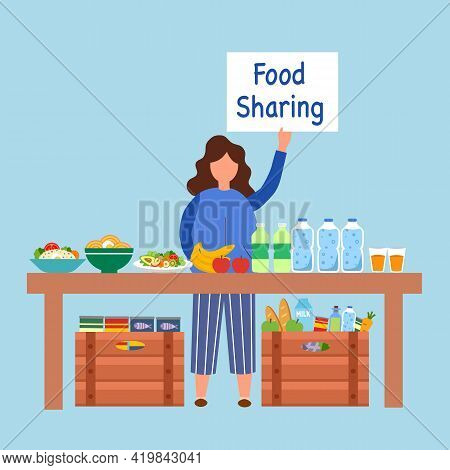 Food Sharing Concept Vector Illustration. Woman Standing With Food, Fruit And Drink On Table For Don