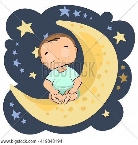 Little Baby Sleeping. Boy. Asleep. Isolated Object On A White Background. Cheerful Kind Funny. Carto