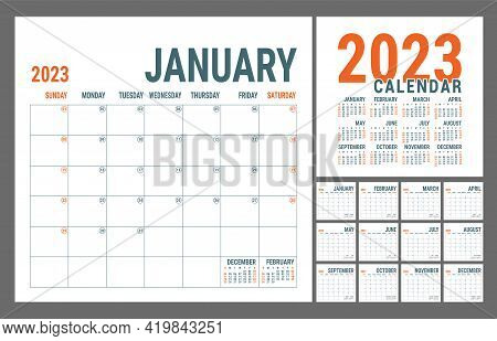 Calendar 2023 Year. English Planner Template. Vector Square Grid. Office Business Planning. Creative